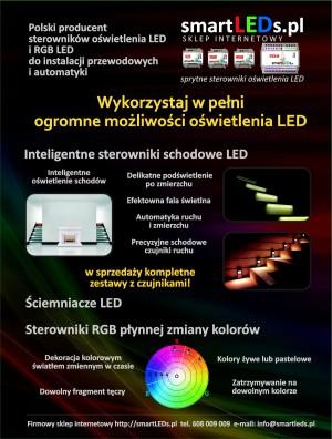 Wykorzystaj w pełni ogromne możliwości oświetlenia LED. Inteligentne oświetlenie schodów, sterowniki schodowe, sterowniki RGB, ściemniacze LED i RGB prosto od producenta. Polskie produkty.