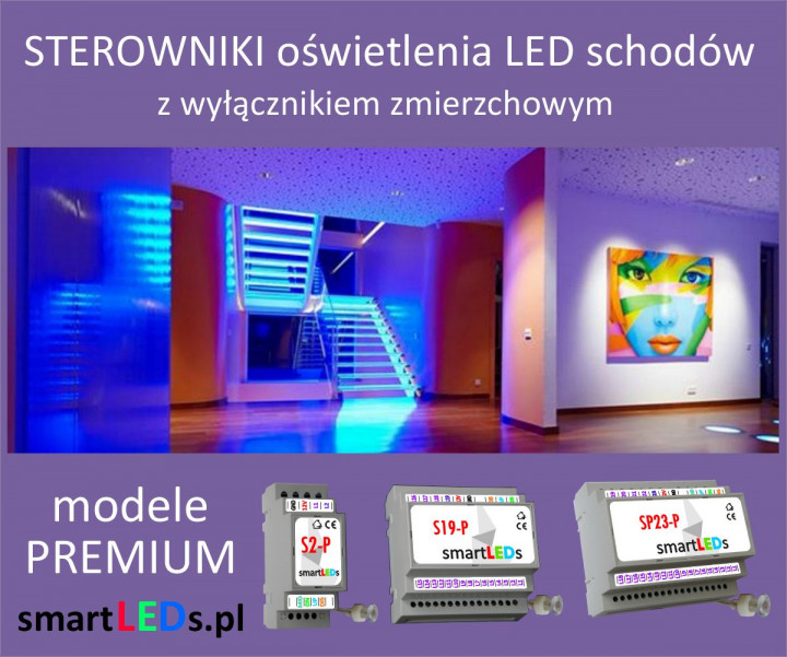 Inteligentne sterowniki schodowe oświetlenia LED schodów smartLEDs
