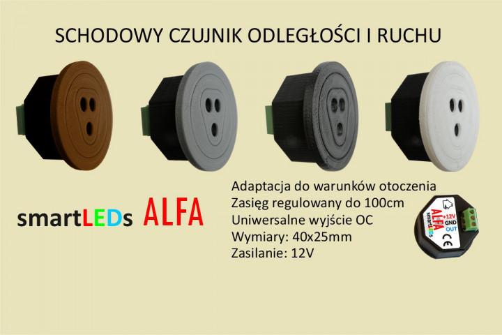Schodowy czujnik odległości i ruchu - ALFA smartLEDs. Jednoelementowy czujnik optyczny odbiciowy.