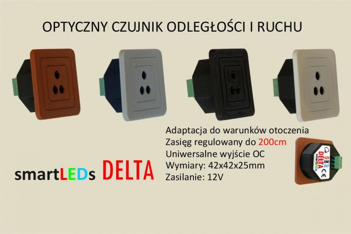 Schodowy czujnik odległości i ruchu - DELTA smartLEDs. Jednoelementowy czujnik optyczny odbiciowy z regulacją zasięgu do 200cm.