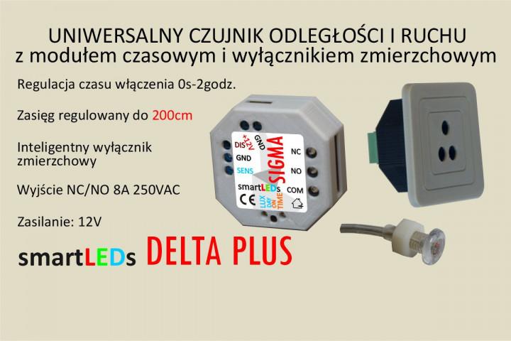 Uniwersalny optyczny czujnik ruchu z modułem czasowym 200cm NO/NC . Przekaźnik czasowy, wyłącznik czasowy światła.