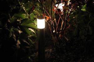 Oświetlenie LED ogrodu. Lampa stojąca. Ogród na dachu.
