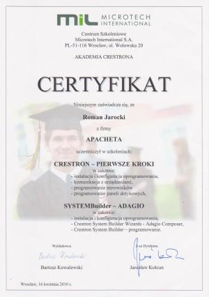 Certyfikat Crestron Pierwsze Kroki, SYSTEMBuilder Adagio - 2010
