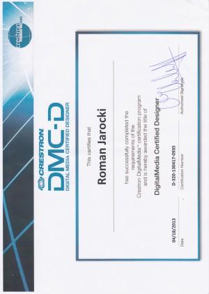 Certyfikat Crestron Digital Media Certified Designer - 2013